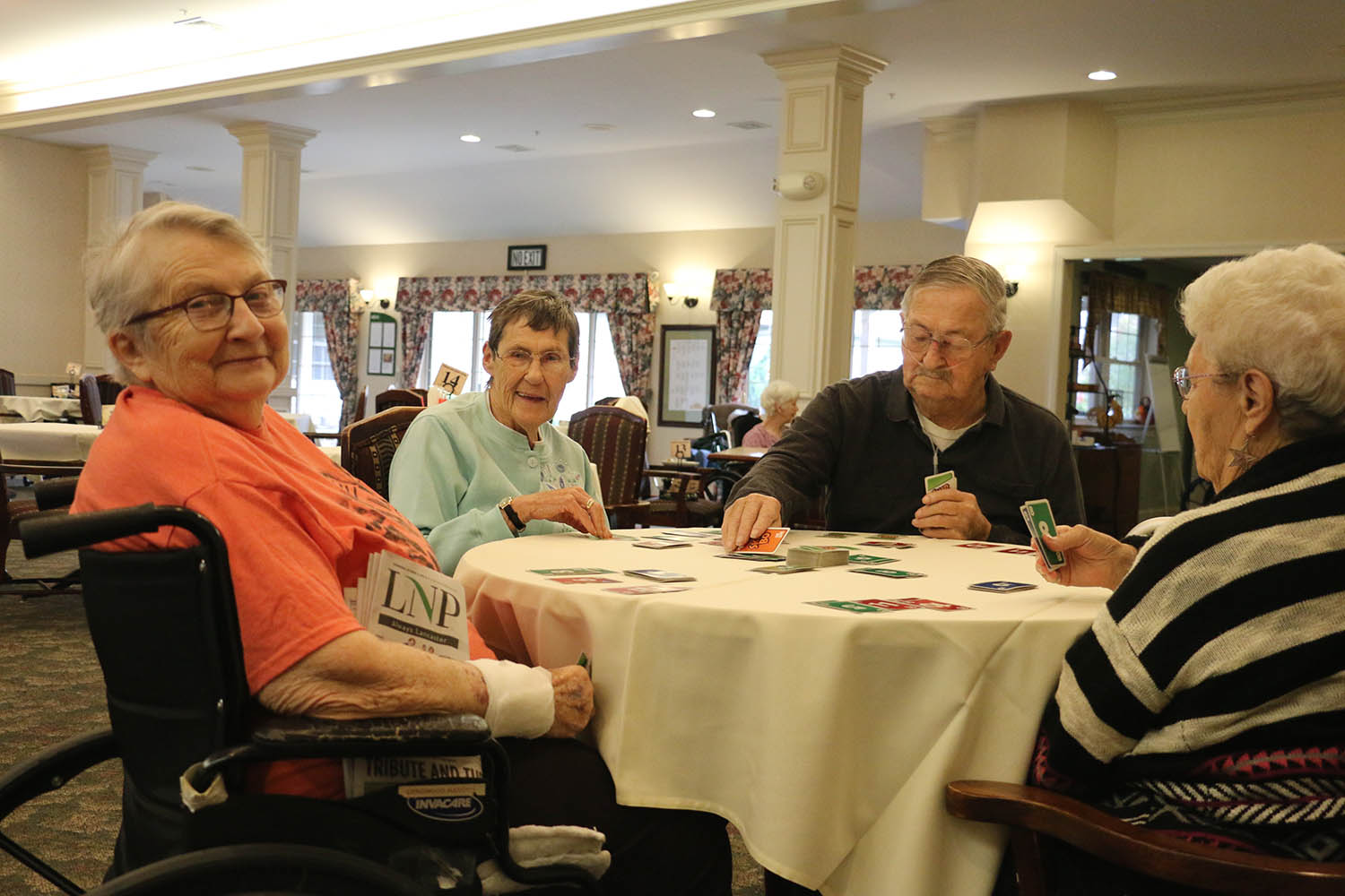 Seniors in a Senior Living Community Cafe